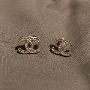 Chanel CC Earrings- Silver (medium size)